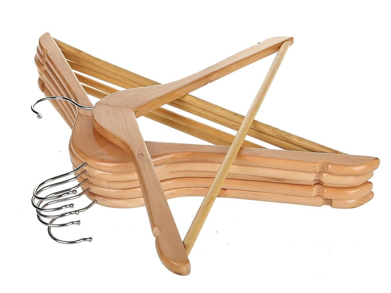 Vinsani [10 Hangers] Natural Wooden Clothes Hangers For Shops & Homes with Trouser Bar & Skirt Notches - 44.5 cm (17.5)