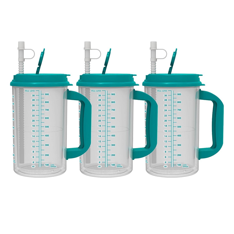 32オンスダブルウォール絶縁病院マグ – Cold Drinkマグ – Largeキャリーハンドル – Includes Straw 32 oz グリーン B0763K5DQP ティール|3 ティール