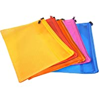 Transparent Pouch, Clear Color Zippered Mesh Documents Holder/ Pouches/Bags, Waterproof Travel Pouch, Office Paper Document Bag, A4 Paper Size – 5pcs with Assorted color (34cm*25cm)