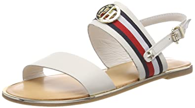 82c83218f Tommy Hilfiger Women s Corporate Ribbon Flat Sandal Sling Back (Whisper  White 121)