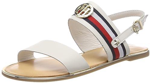 Tommy Hilfiger Corporate Ribbon Flat, Sandali con Cinturino alla Caviglia Donna