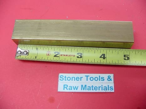 """5//8/"""" square bar 360 Brass x 6.00/"""" long   Lathe or milling Stock"""