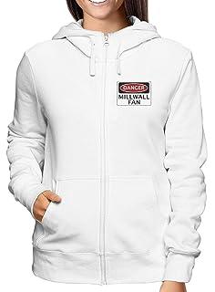 Sweatshirt Damen Hoodie Zip Weiss WC0304 Danger Millwall Fan Football