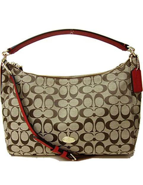 08e9d5fc88c49 Coach F36716 Signature Celeste East West Convertible Hobo Handbag Khaki classic  Red