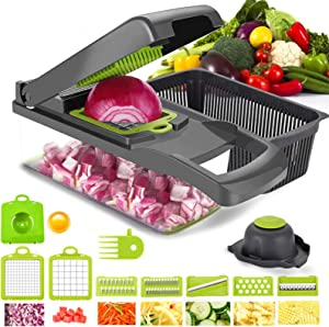 Onion Chopper,Vegetable Chopper Food Chopper with Large Container,12 in 1 Adjustable Mandolin Slicer, Multi-Blade for Food Salad Potato Veggie Fruit Chopper Cutter (Grey)