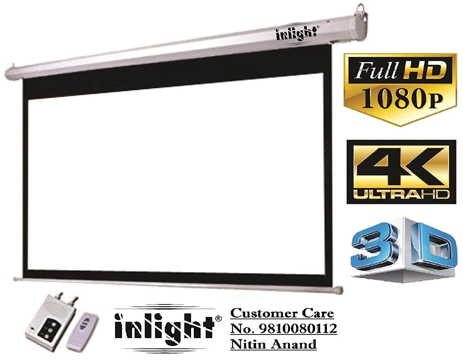 Inlight Imported Motorised Projector Screen, Size:- 8 Ft (Width) x 6  Ft (Height), Supports 1080 P, 3D and 4K Viewing Technology