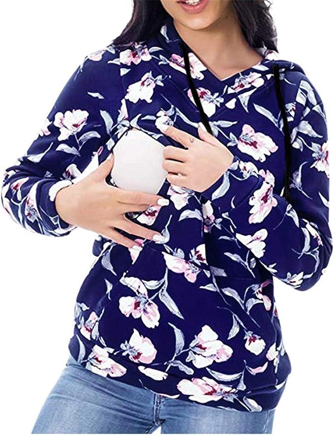 HCFKJ Ropa Premam/á Invierno Talla Grande para Mujer Mangas Largas Tops Enfermer/íA Mangas Largas Rayas Camiseta Lactancia Sudadera