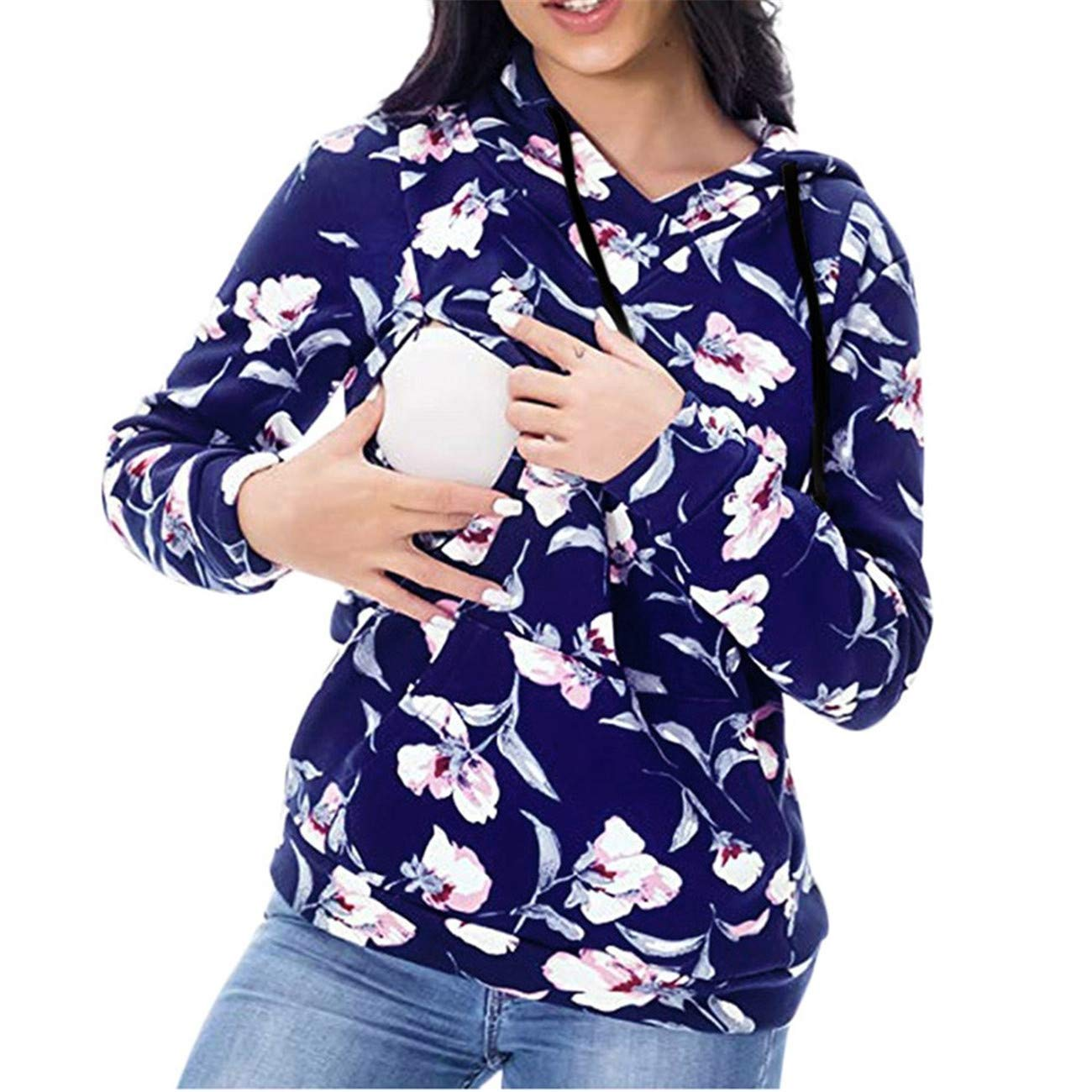 HCFKJ Ropa Premam/á Invierno Talla Grande para Mujer Mangas Largas Tops Blusas Embarazo Camisa Maternidad De Enfermer/íA Mangas Largas Floral Lactancia con Capucha Sudaderas