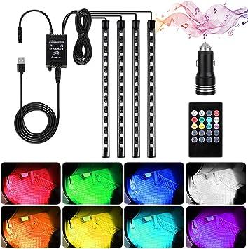 Speclux 48 LED controllo tramite app con caricatore per auto multicolore luci per auto migliorate con telecomando per cambio musicale set di luci per interni auto impermeabili 4 pezzi
