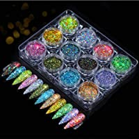 12 boxes/set Nail Glitters 12 colors, Holographic Nail Art Sequins Powder Flakes for Body Face Hair,Eyeshadow Makeup…