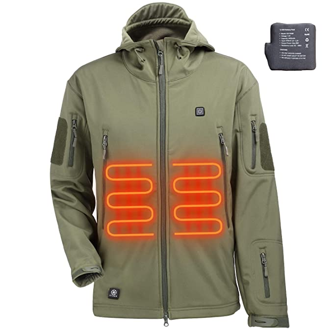 Heating Clothes Amazon Com >> Itiebo Men S Heated Jacket Electric Battery Pack Waterproof Warm Heated Clothes