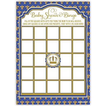 Amazon 50 Prince Baby Shower Bingo Game Cards Kitchen Dining