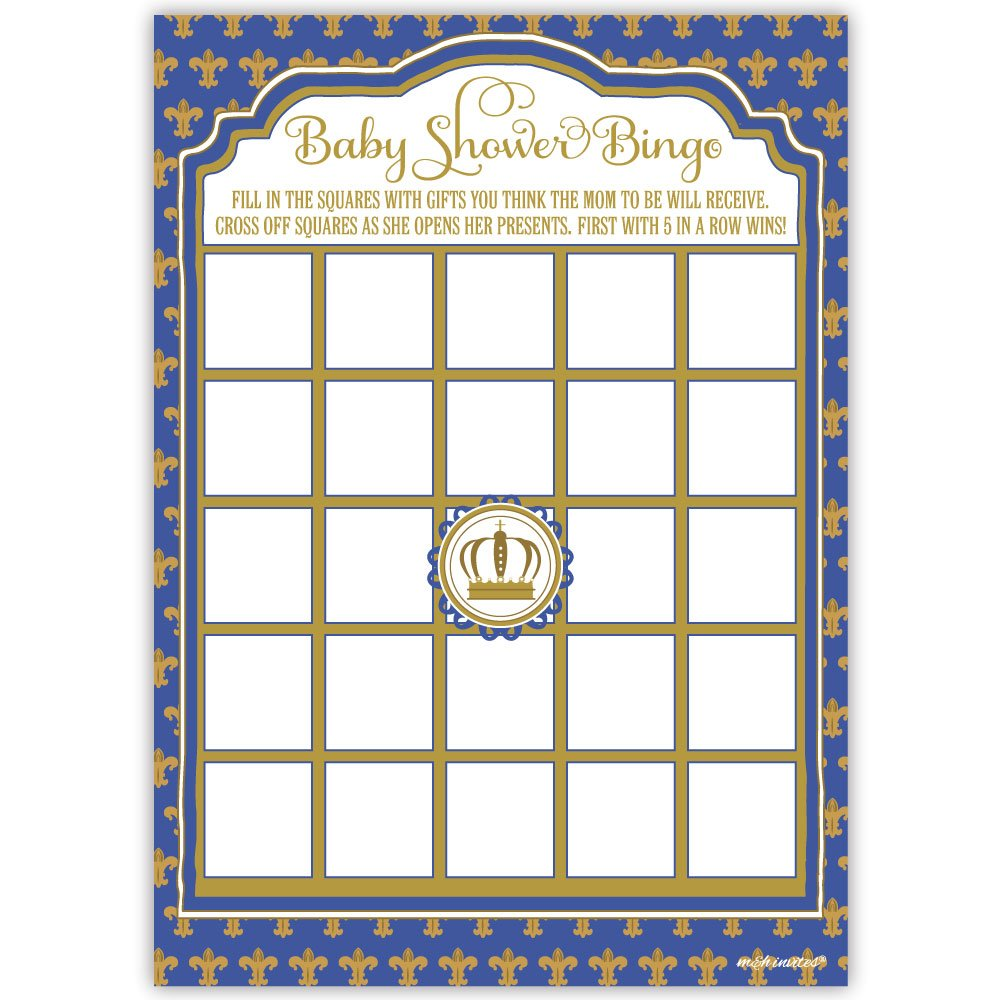 50 Prince Baby Shower Bingo Game Cards