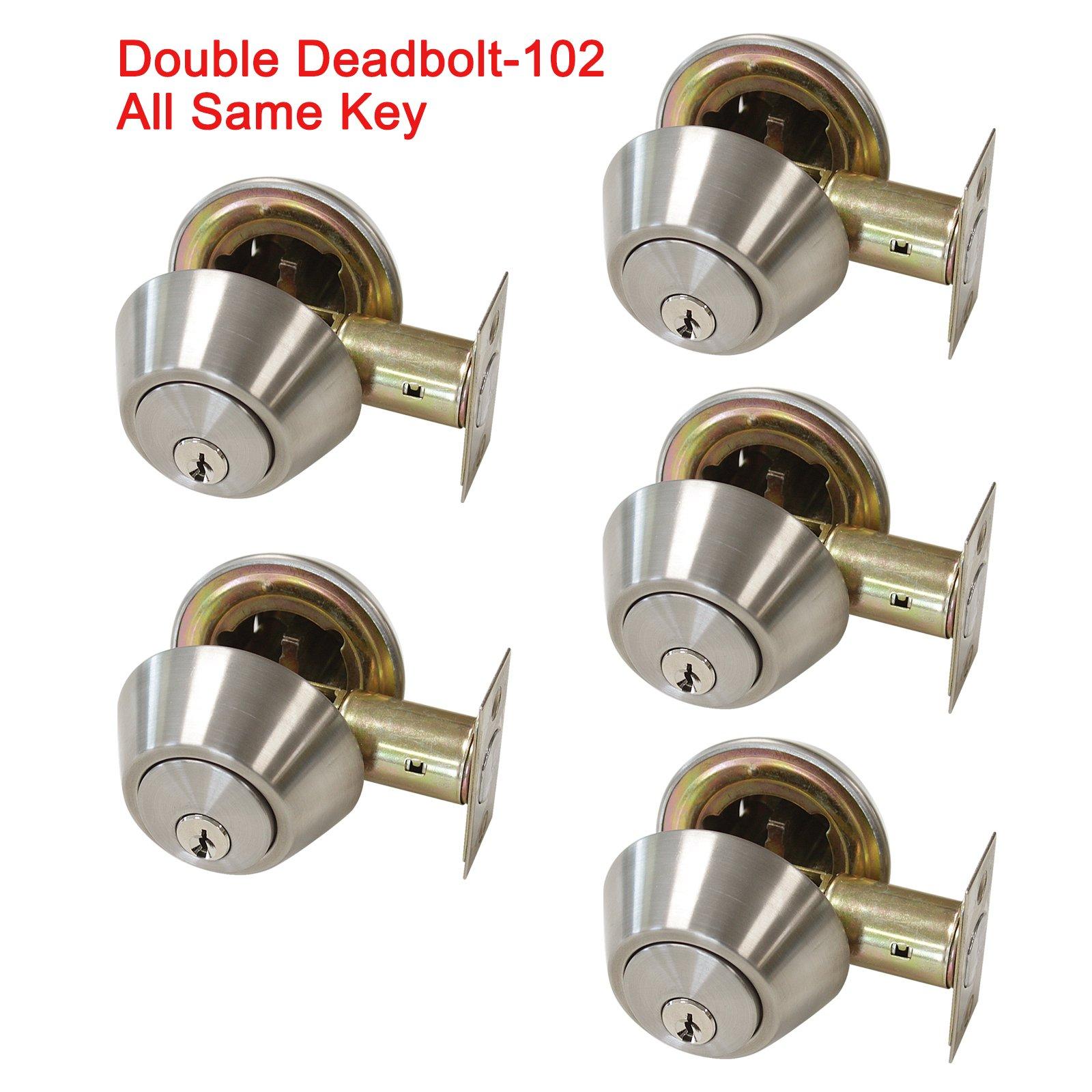 5 Pack Probrico Interior Bedroom Double Cylinder Deadbolt One Keyway Keyed Alike Same Key Safety Bolt Door Lock Lockset in Satin Nickel-Double Deadbolt-102