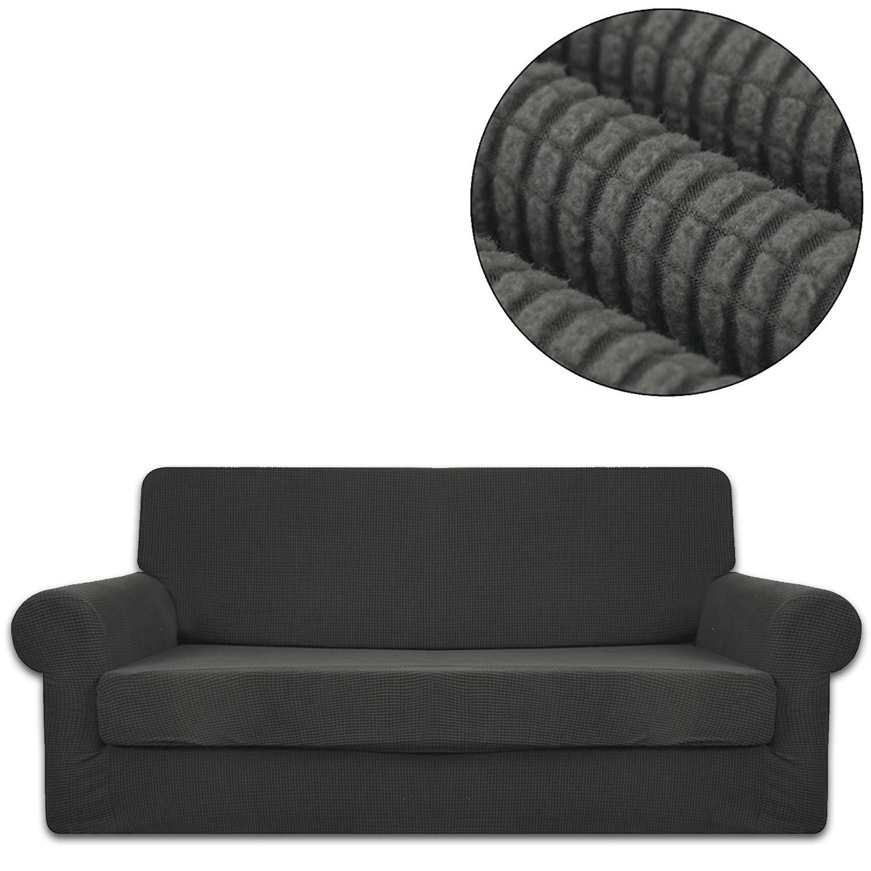 ANJUREN ソファ ラブシート アームチェア 椅子 スリップカバー 2枚 グリッド ジャカード アウトレット ポリエステル クリアランスsale 期間限定 スパンデックス シールド 家具 プロテクター グレー ストレッチ リビングルーム しわ防止 B07JFPTC1M Sofa