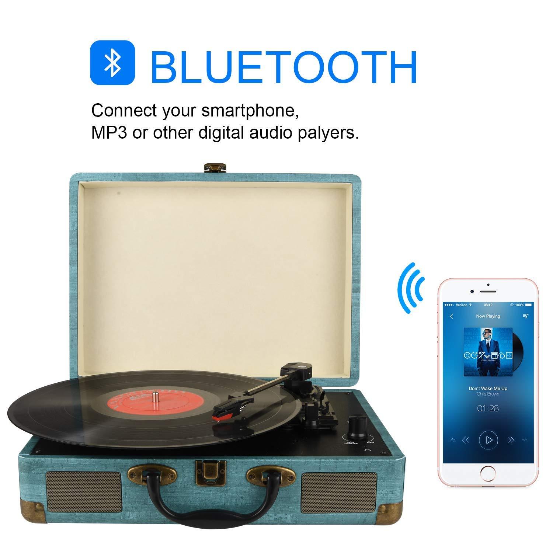 Tocadiscos Bluetooth de 3 velocidades con y Altavoces estéreos ...