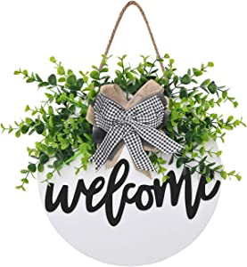 Welcome Sign Welcome Front Door Round Wood Sign Hanging Welcome Sign for Farmhouse porch Spring Welcome Sign Front Door Decoration (Whiteboard welcome)