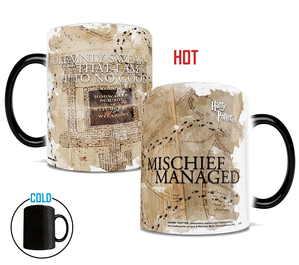 Morphing Mugs Harry Potter Hogwarts Marauders Map Heat Reveal Ceramic Coffee Mug - 11 Ounces