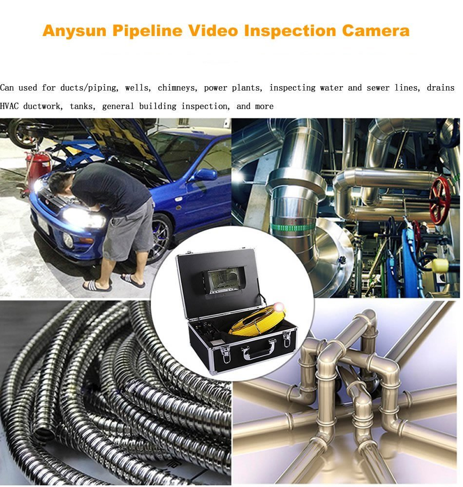 Pipe Inspection Camera, Drain Sewer Industrial Endoscope Anysun PIC-30DVR  Waterproof IP68 30M/100ft Snake Video System with 7 Inch LCD Monitor  1000TVL