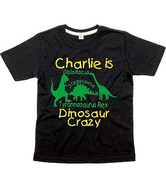 4637f479250ec personnalisé Dinosaure Crazy avec nom T-shirt pour garçon avec imprimé  Jaune et vert (veuillez du nom d entrée et Économisez de l informatique  dans la ...