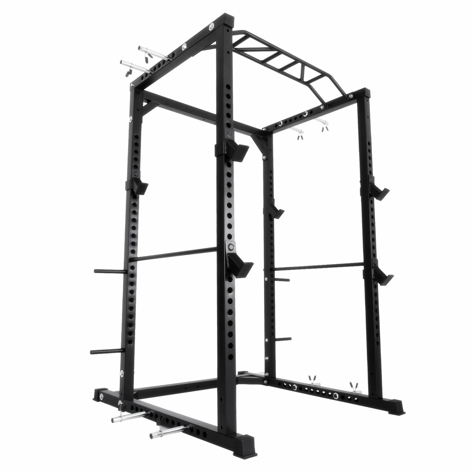 Popsport Deep Squat Rack Series Power Rack Squat Barbell Cage Bench Stand Heavy Duty Multi-Grip Chin-Up Fitness Power Rock with LAT Pull Attachment for Home Gym (BD-41) by Popsport