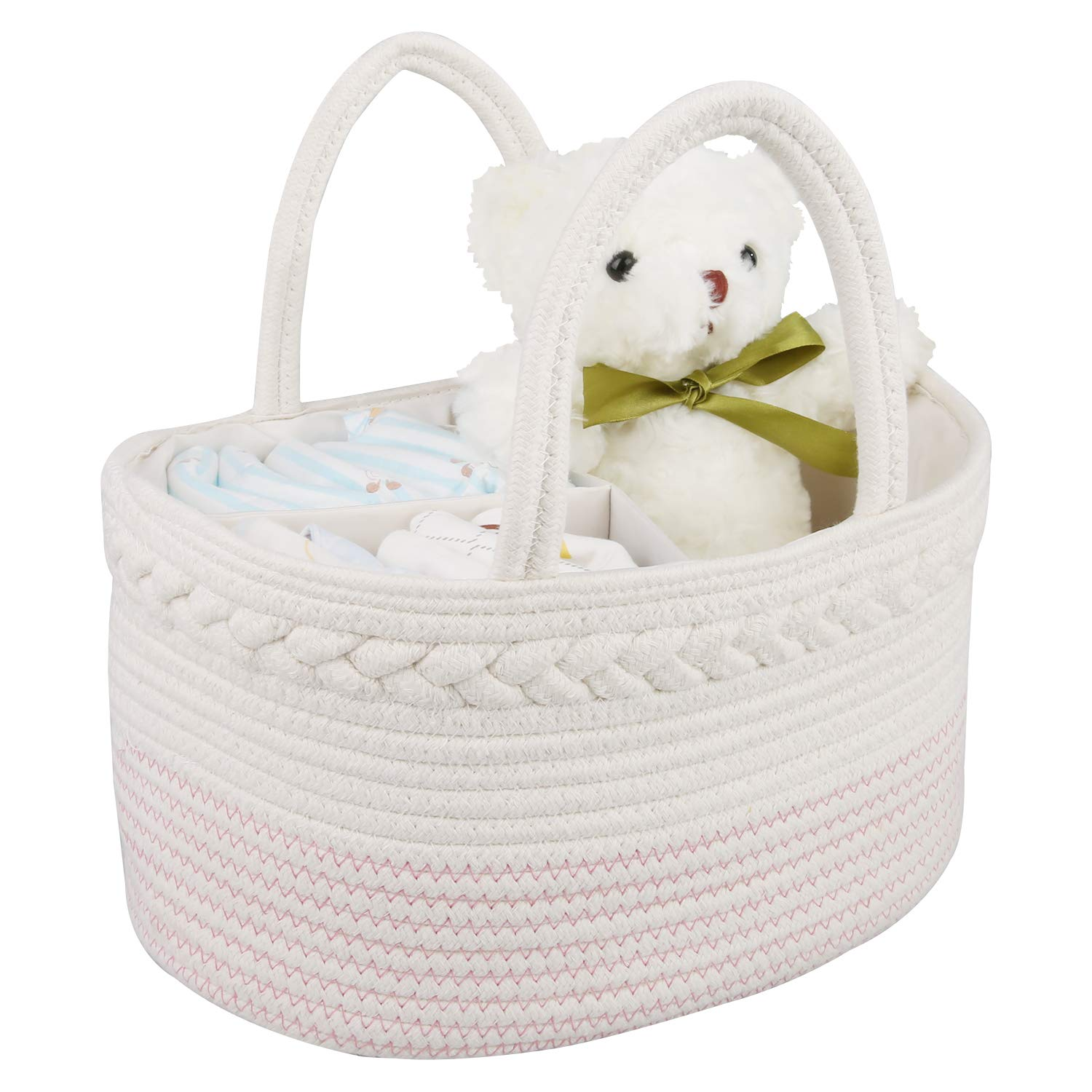 Baby Diaper Caddy Organizer for Home and Travel - GESUNDHOME Portable Diaper Caddy for Newborn Essentials with Removable Inserts - Baby Shower Gift Basket (Pink & White)