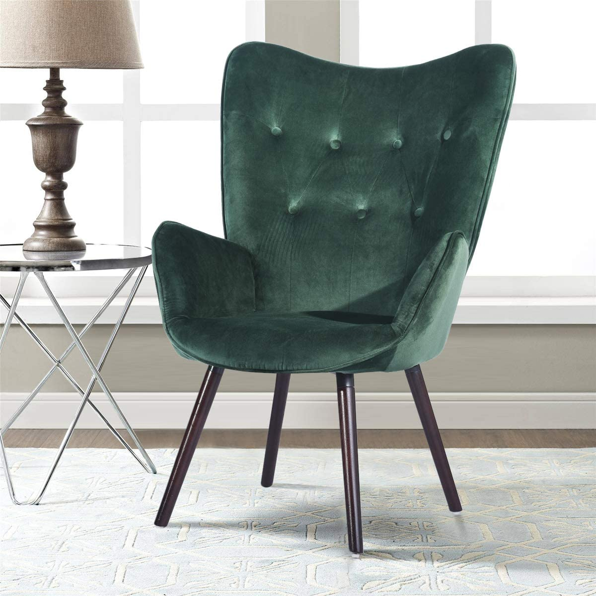 Chair for Living Room, HOMEMAKE Wingback Accent Armchair Velvet Fabric KD  Solid Wood Legs Leisure Chair (Green)