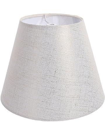 12,7 cm Colore: Avorio Oaks Lighting Paralume in Tessuto Tipo Seta Pieghettato Base con Merletto e Bordo Inferiore con Perle Pendenti