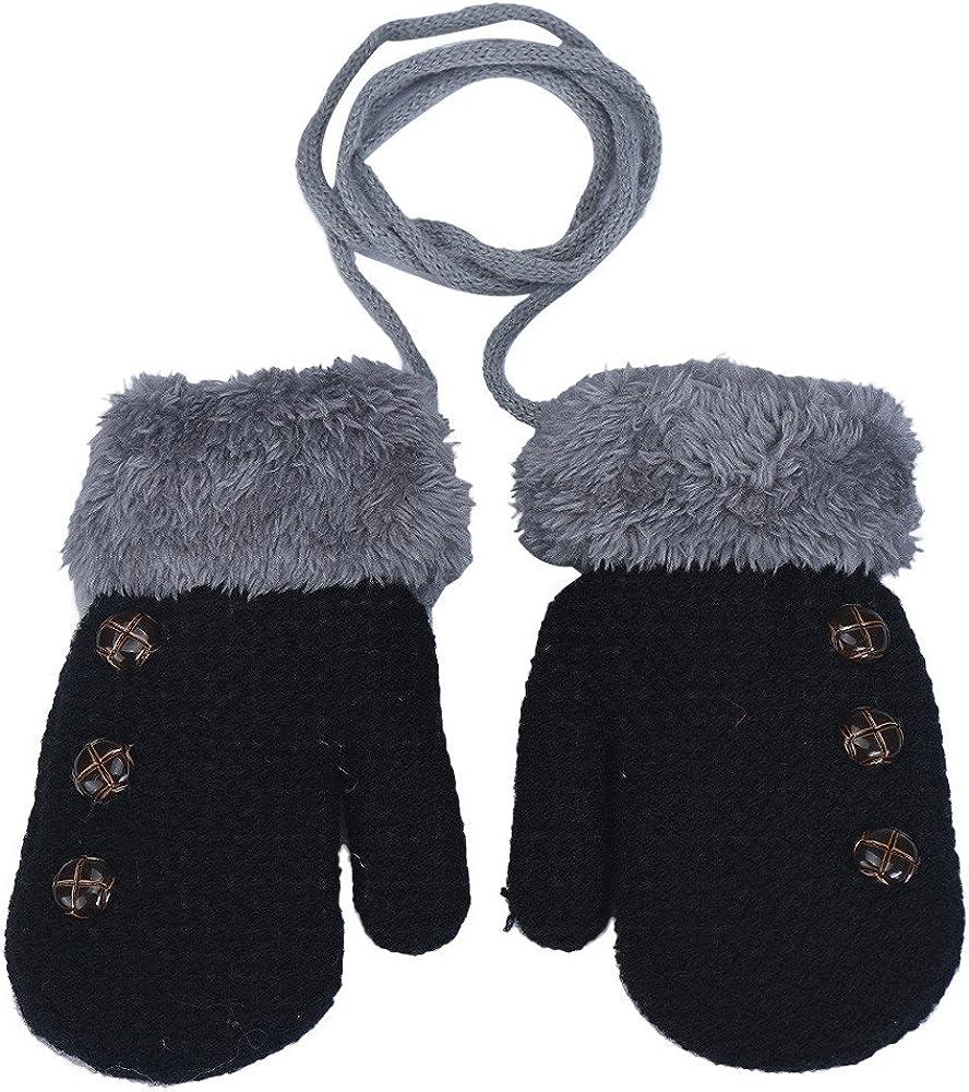 XXYsm Baby F/äustling Handschuhe Winter S/äugling Unisex Einfarbig Gloves mit Band Taste Pl/üsch