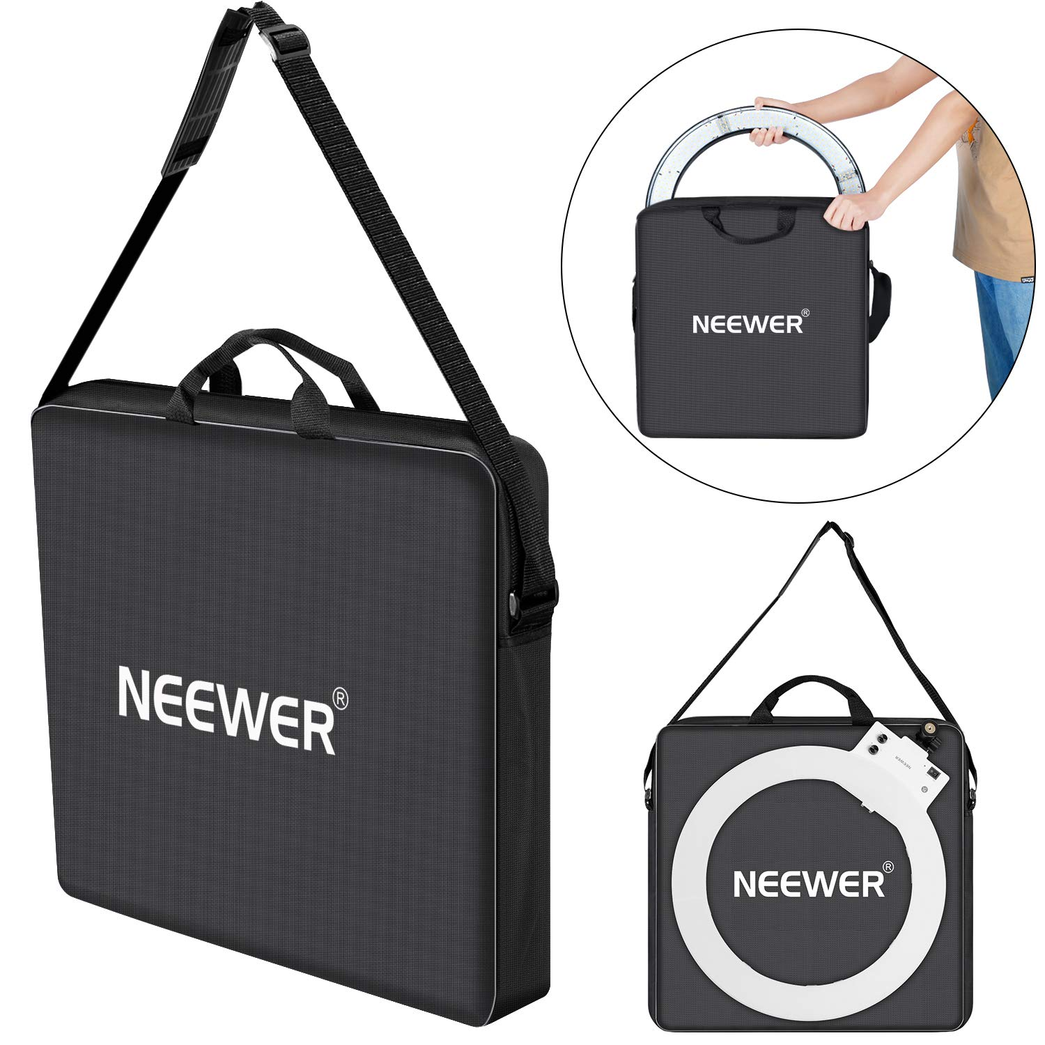 Neewer Photography Carrying Bag Protective Case Compatible with 18 inches Camera Ring Light - 20.47x20.47 inches/52x52 Centimeters, Durable Nylon, Light Weight (Black) 10093166NE