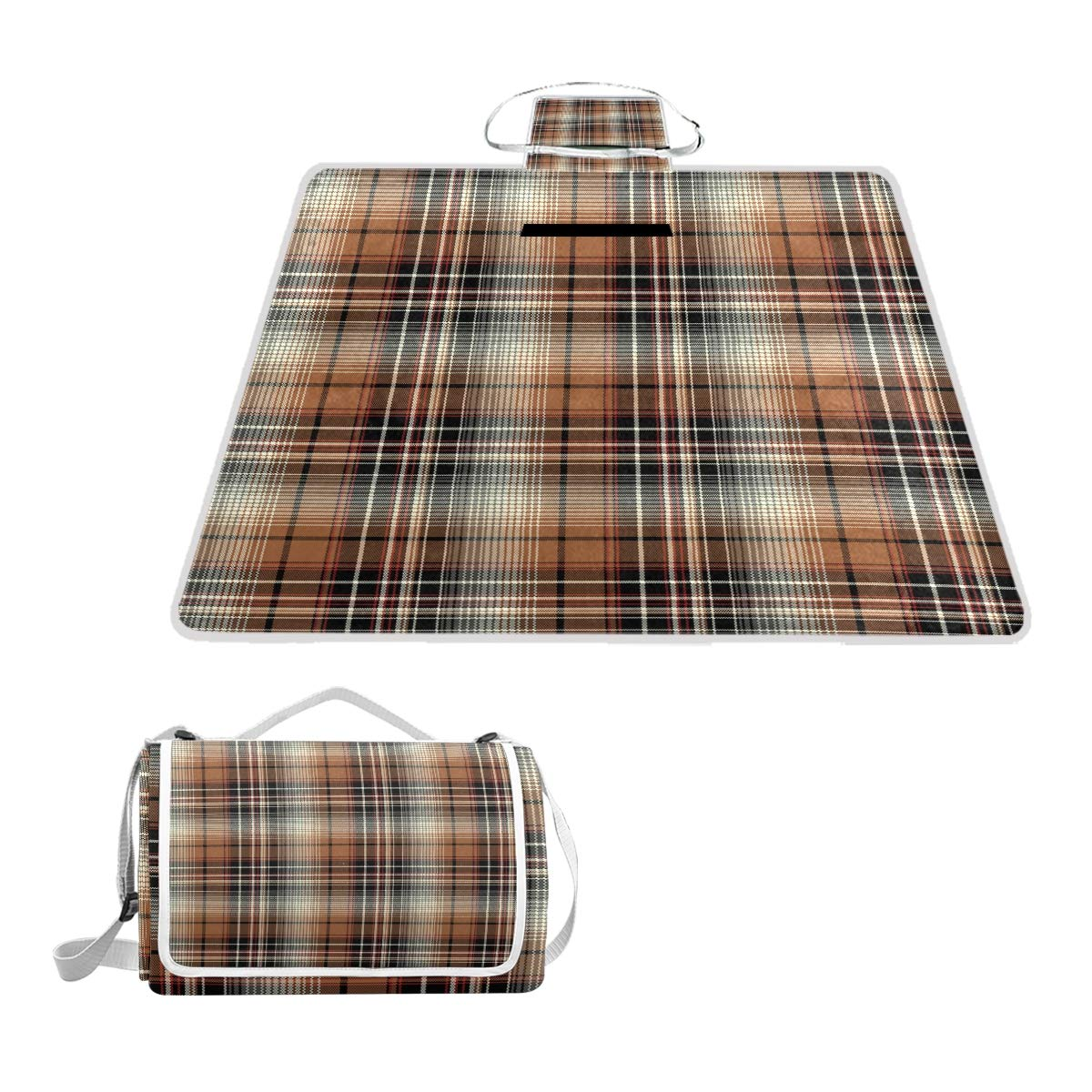 Dark Brown Plaid Decoration Oversized Picnic Mat Outdoor Camping Beach Travel pad Blanket Mat Waterproof by Horatiood Huberyyd