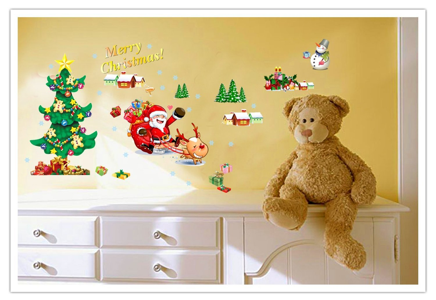 901A+B AM901A+B Amaonm Set of 2 Sheets Xlarge Merry Christmas Santa Claus Christmas Tree Christmas Stockings Christmas Gifts Wall Decals Removable Wall Stickers Murals for Living Room Bedroom Shop Window