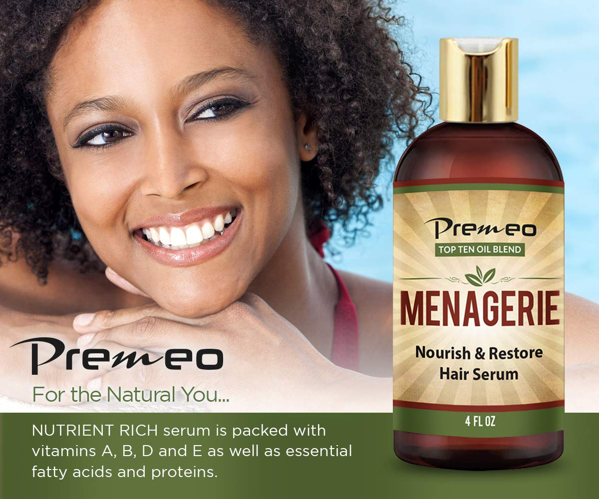 Menagerie Hair Growth Serum - Top Ten 100% Natural Oils For Thicker Stronger Softer Hair Including Organic Castor, Sweet Almond, Avocado, Grapeseed, Coconut Aragon, Jojoba, Rosemary (4 oz) by Premeo (Image #2)