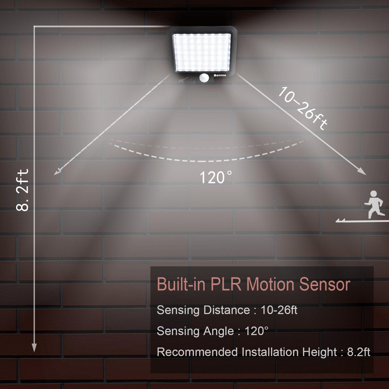 Benma 56 LEDs Lámparas Solares,Impermeable Energía con Sensor de Movimiento 3-8m,Luz Solares de Seguridad,Focos Luz Paredes, Luz Solar Exterior para Jardín, ...