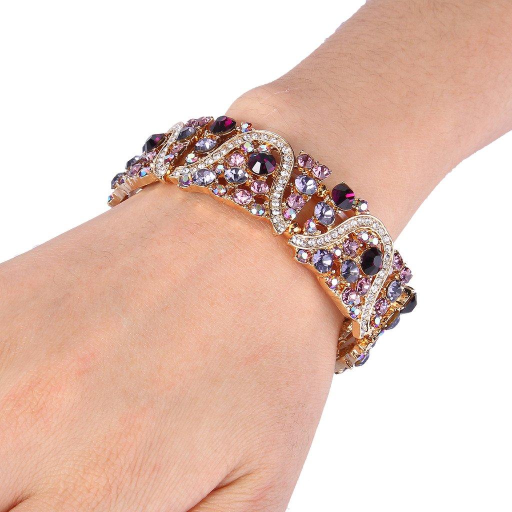EVER FAITH Gold-Tone Austrian Crystal Art Deco Wave Bridal Elastic Stretch Bracelet Purple by EVER FAITH (Image #2)