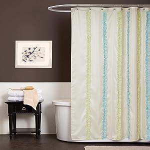 Lush Decor Aria, Blue/Green Shower Curtain
