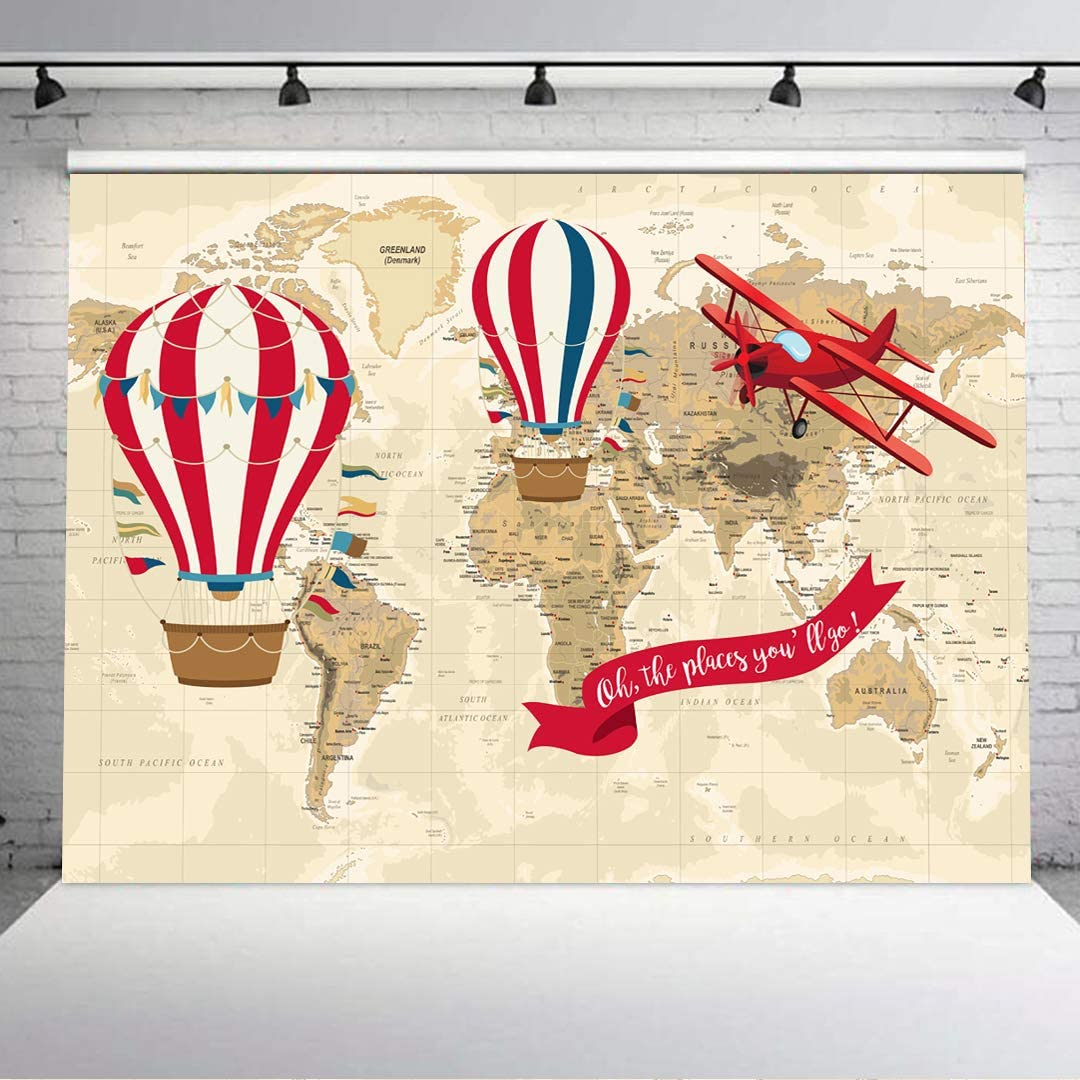 7X5FT Baby Shower Hot Air Balloon Vintage Airplane Photography Backdrop Oh The Place You'll Go Backdrops World Map Adventure Baby Shower Background Vinyl Happy Birthday Party Cake Table Decor