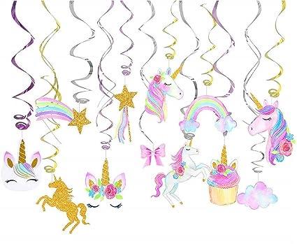 Amazon Com Unicorn Hanging Swirl Decoration Kit For Birthday Party
