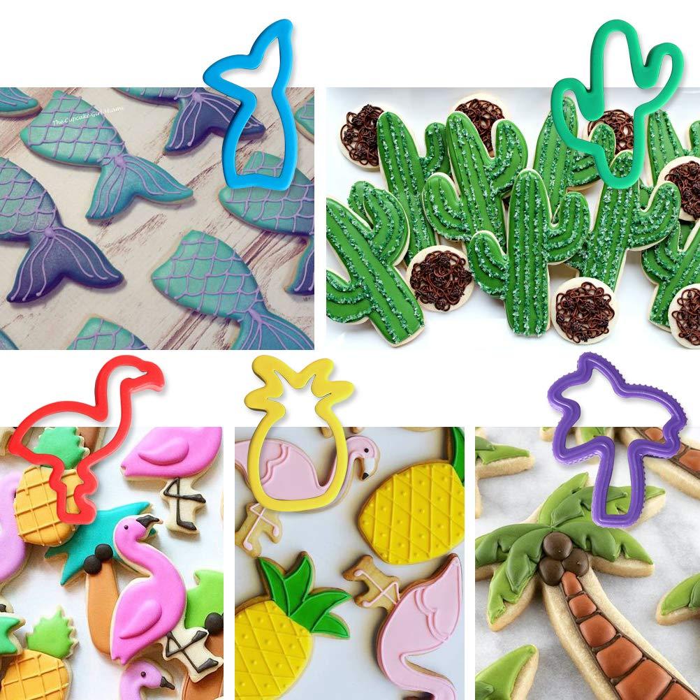 dise/ño de cactus sirena para ni/ños 5 cortadores de galletas pi/ña de acero inoxidable palmera Juego de cortadores de galletas tropicales flamenco