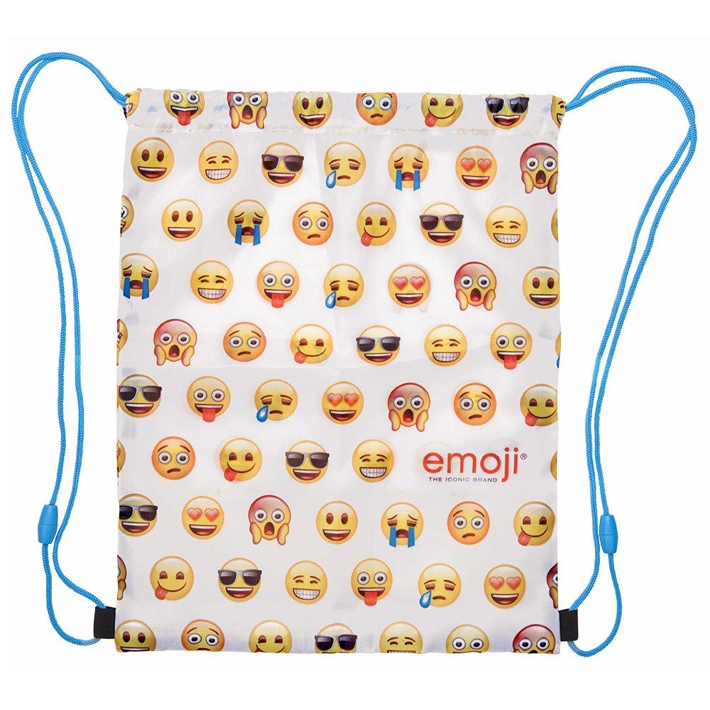 Perletti Sac de Gym Emoji - Sac à Dos Cordon Imperméable - Poches de Gym pour Chaussures de voyage - Blanc et Jaune - 39x31 cm 13625