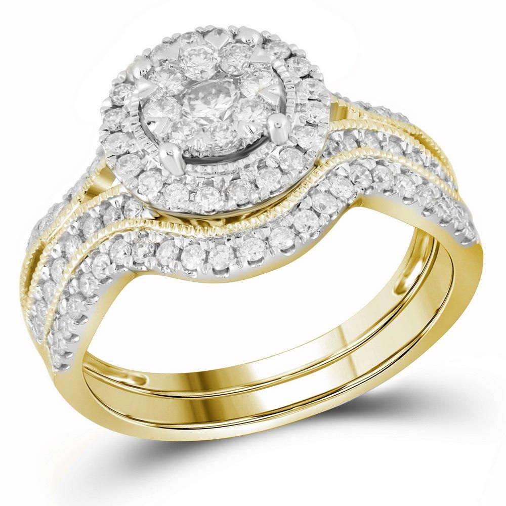 14kt Yellow Gold Womens Round Diamond Bridal Wedding Engagement Ring Band Set 7/8 Cttw