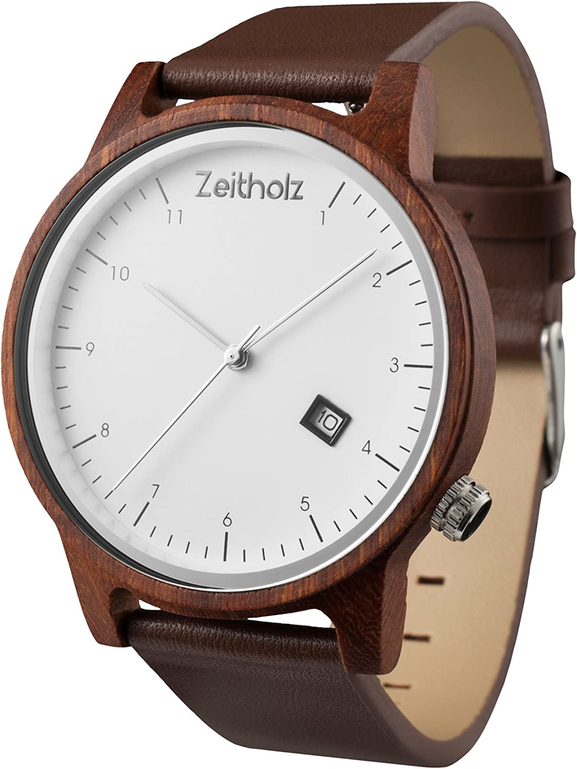 Zeitholz Wooden Watch for Men or Women, Breitenbrunn – 100 Natural Sandal, Maple or Zebrano Wood Case with Genuine Leather Straps – Lightweight Hypoallergenic Analog Quartz Wrist Watch with Gift Box