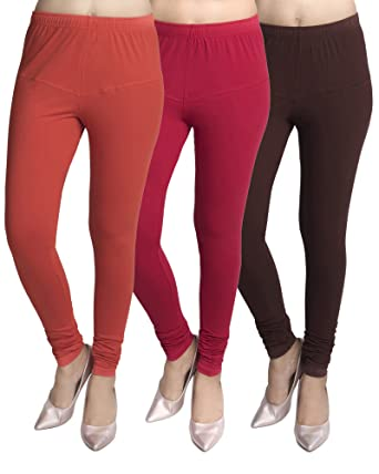 125c56a81f Magnitude Women's/Girls/Ladies Cotton/Lycra Soft/Stretchable Churidar  Leggings 3 Pcs