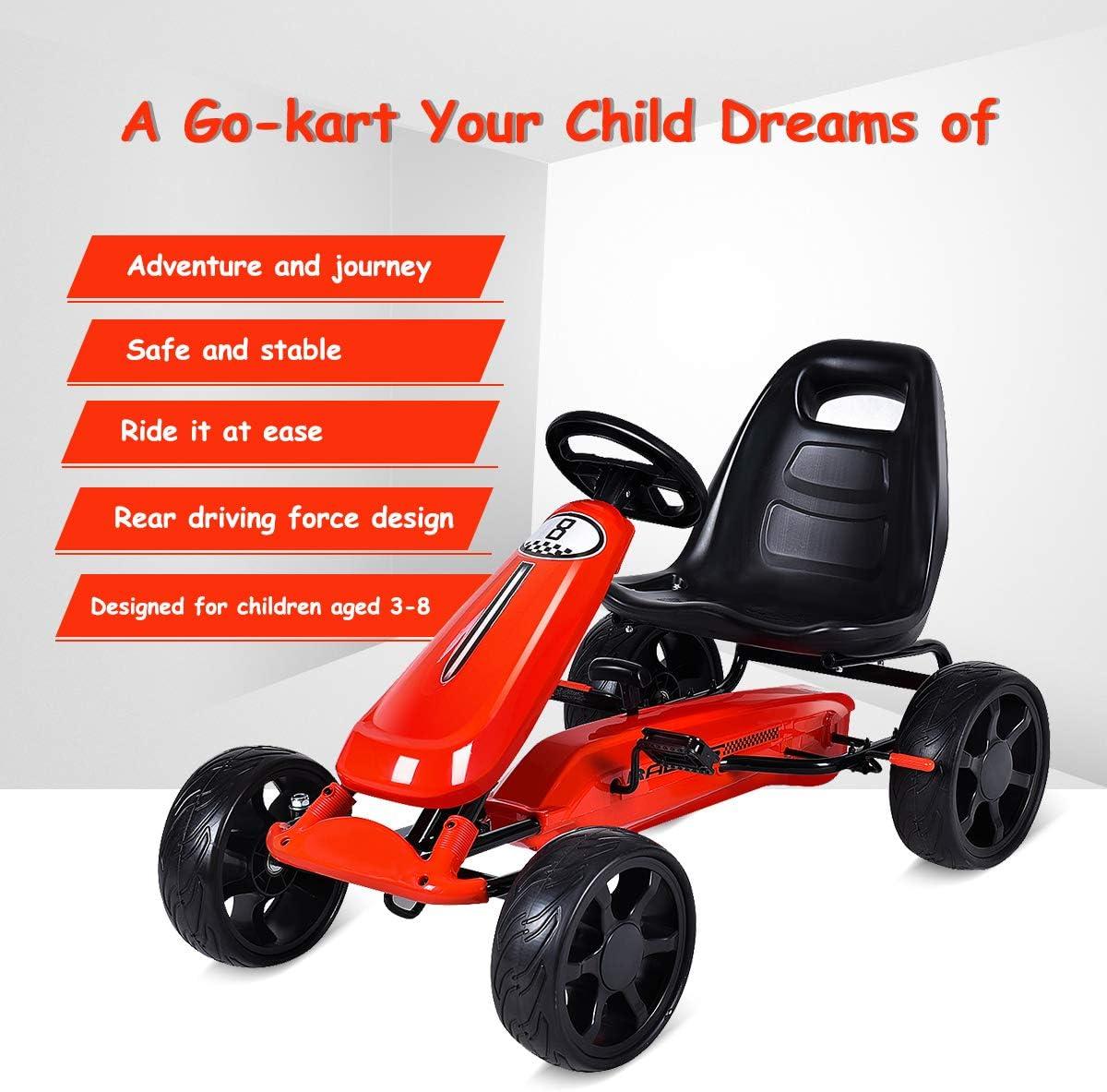 HONEY JOY Pedal Go Kart for Kids 4-Wheels Quad Ride On Car w// 2-Position Adjustable Seat EVA Rubber Wheels Outdoor Racer Pedal Vehicle for Baby Boys Girls Handbrake /& Clutch Red