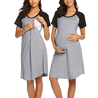 7bb6283ad47ae Riverdalin Women Maternity Nursing Dresses Pregnancy Casual Patchwork Skirt  Short Sleeve Breastfeeding Blouse Clothing Gray