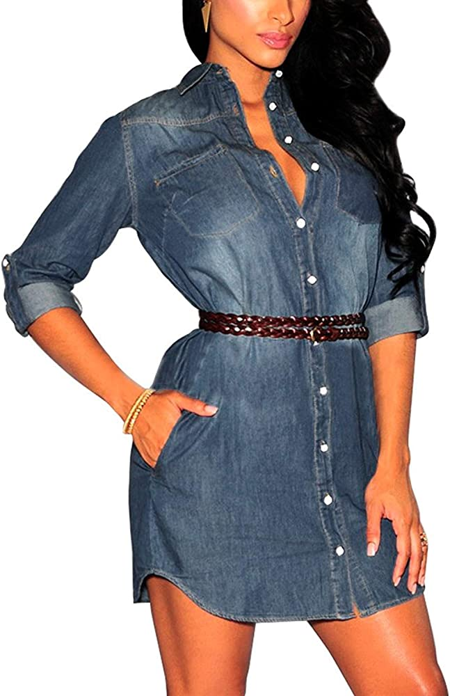 Vestidos para Mujer Elegante Vestido Corto De Mezclilla Manga Larga Moda Casuales Mujeres Camiseta con Mini Vestido Denim Camisa De Mezclilla Varios Vestidos (Color : Azul Oscuro, Size : L): Amazon.es: Ropa