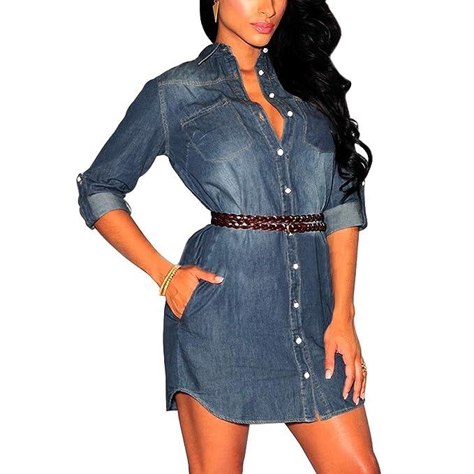 a6ef26f0d Vestidos para Mujer Elegante Vestido Corto De Mezclilla Moda Casual  Sencillos Manga Larga Camiseta con Mini Vestido Denim Camisa De Mezclilla  Varios ...
