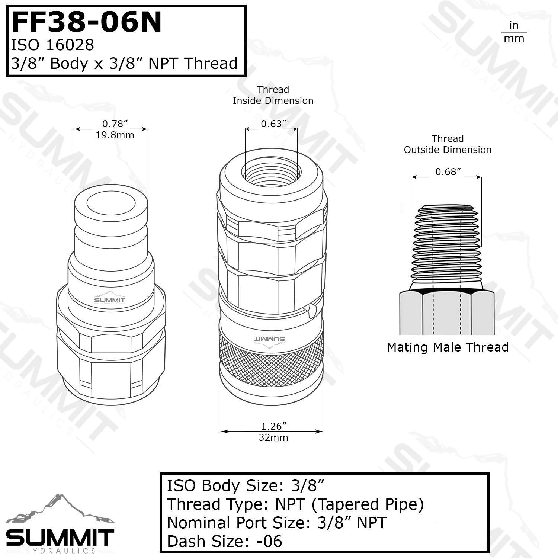 3//8/″ NPT Thread Summit Hydraulics 3//8/″ Flat Face Hydraulic Quick Connect Female Coupler