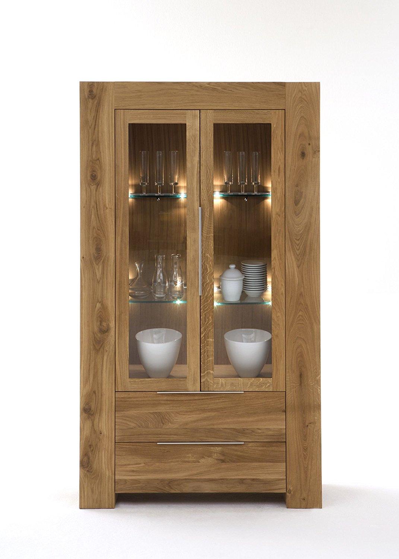 Vitrine Modern mit 2 Glas-Türen und 2 Schubladen aus massiver Eiche ...