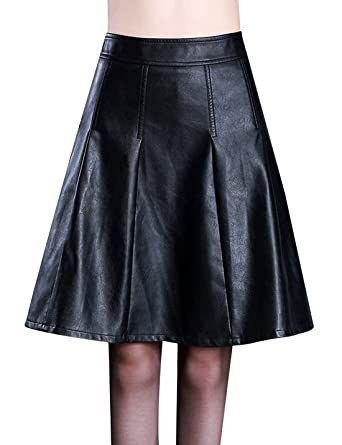 b4fae0bb380b Tanming Women s A-Line Pleated Faux Leather Midi Skirt at Amazon Women s  Clothing store